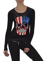 S&LU angesagtes Damen-Langarmshirt mit Samt-Front und teilweise Strassapplikationen verschiedene Modelle Größe S-XL