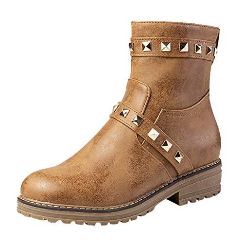 DressLksnf Damen 252747 Chukka Boots Damenstiefel Winter Plateauschuhe Leder Keil Flache Nietstiefel Runder Kopf Lace Up Zip Martin Stiefel -