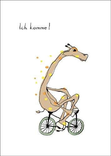 Süße Beistands Karte mit Giraffe auf Fahrrad: Ich komme! • auch zum direkt Versenden mit ihrem persönlichen Text als Einleger.
