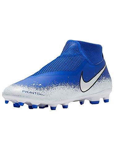 Nike Phantom Vsn Academy DF Fg/MG, Scarpe da Calcetto Indoor Unisex-Adulto, Multicolore (Racer Blue/Chrome/White 000), 40.5 EU