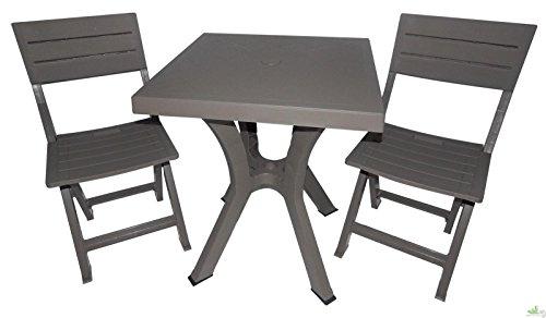 Plastica Alto Sele Set Duetto résine Table + Deux chaises Taupe