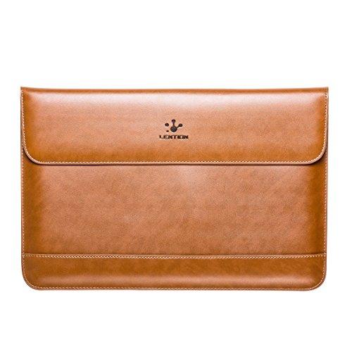 Lention Split Ledertasche für MacBook Air 11 / MacBook 12 / Surface Pro/Samsung / HP/ASUS / Acer, Premium Tragetasche mit magnetischen Snaps für 11-12 Zoll Laptops und Tablets (Braun)