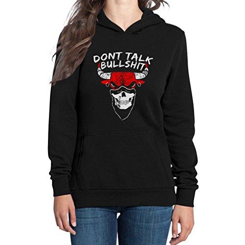 Dont Talk Bullshit - Chicago Dope Spruch mit Bulle Basketball Damen Schwarz Medium Kapuzenpullover Hoodie
