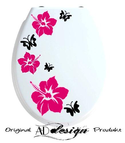 TREND DESIGN - Aufkleber für WC Toiletten Deckel ***Hibiskusblüten + Schmetterlinge*** freie Farbauswahl!