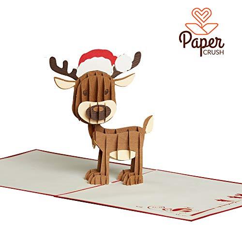 PaperCrush® Pop-Up Karte Weihnachten Rentier *Einführungspreis* - 3D Weihnachtskarte in Handarbeit gefertigt inkl. Umschlag