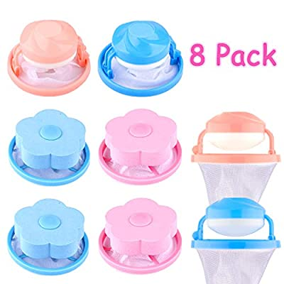 Whaline 8 Pieces Washing Machine Lint Filter Bag, Floating Pet Hair Lint Mesh Remover, Household Reusable Hair Catcher, Lint Traps Laundry Blue and Pink (4 Styles)
