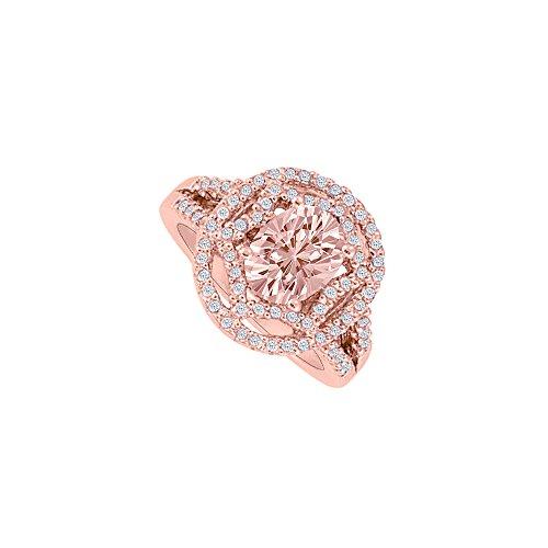 Gold Engagement Rose Ring Diamond (Morganite and Diamonds Rose Gold Engagement Ring)