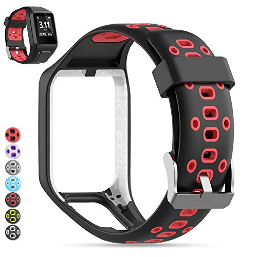 MOGOI Tomtom Uhrenarmband, [Aufgerüstet] Silikon Ersatz Uhrenarmbänder Straps Sport Armband für Tomtom Runner 2/Runner 3/Spark 3/Abenteurer/Golfer 2 Sport GPS-Lauf (Schwarz + Rot)