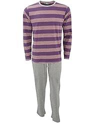 Herren Pyjama, Langarm Top gestreift und Pyjama Hose