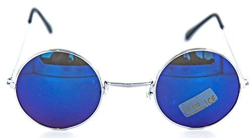 Nickel-Brille John Lennon Style ca. 12,2 cm breit UV-Schutz 400 blau verspiegelt Sonnen-Brille Sun-Glases herren Damen (Blue Brothers Kostüm Frauen)