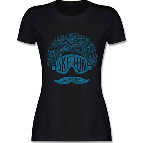 Après Ski - Ski Fun Moustache - tailliertes Premium T-Shirt mit Rundhalsausschnitt für Damen Schwarz