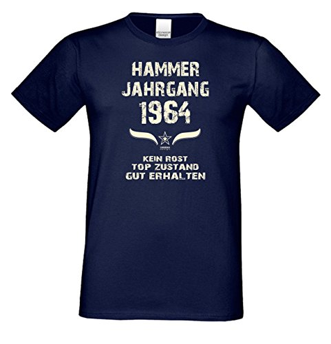 Geschenkidee zum 53. Geburtstag :-: Herren kurzarm Geburtstags-Sprüche-T-Shirt mit Jahreszahl :-: Hammer Jahrgang 1964 :-: Geburtstagsgeschenk für Männer :-: Farbe: navy-blau Navy-Blau