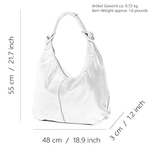 modamoda de - ital. Ledertasche Damentasche Hobo Bag Schultertasche Shopper Groß Leder 337 Weiß
