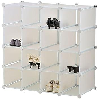 Interlocking Cube Shoe Organiser Storage Rack for 16 Pairs, White