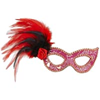 Pink Eye Mask & Rose & Feathers masquerade Ball party Moulin Rouge Fancy Dress