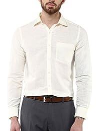 Turtle Men's Beige Cotton Linen Slim Fit Formal Shirt