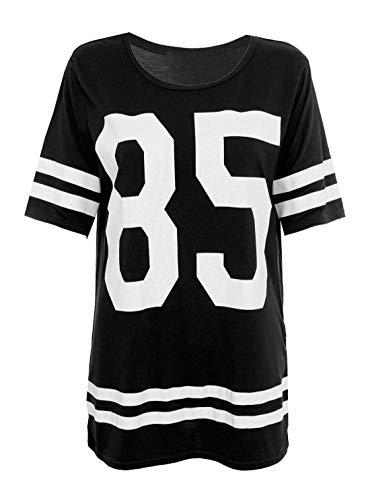 Damen T-Shirt American Football Stil - Schwarz - Keine Angaben, S/M (EU 36/38)