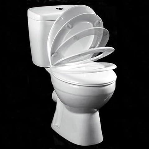 Aqualona Soft Close universel Libération rapide Siège WC avec charnières chromées anti-rouille, en plastique, blanc
