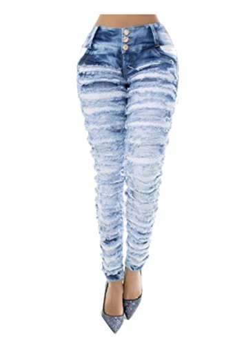 The Authentic!! 100% COLOMBIAN Jeasn Push Up -Ripped Skinny Jeans -Mit Unseren Eigenen Hintern -Lifting Und Straffung Blau