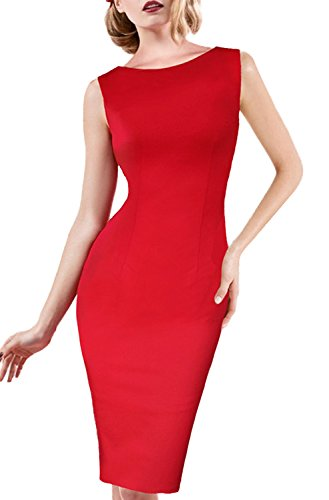 Minetom Femmes Vintage Col Rond Robe Creux de Dentelle Slim Sans Manches De Robe Sexy Dress de Soirée Pencil Bodycon Party Cocktail Rouge