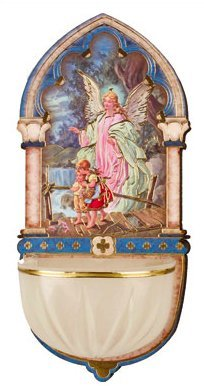 Catholic Gifts - Luminous Guardian Angel Holy Water Font with Gold Foil Highlights.