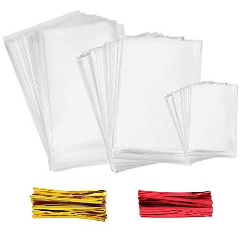 INTVN Cellophan Taschen 300 Stück Mehrere Größen Klar Cello Taschen mit 300 Stück Twist Krawatten 2 Farben für Transparente Süßigkeitentüten für Bonbons, Schokolade -