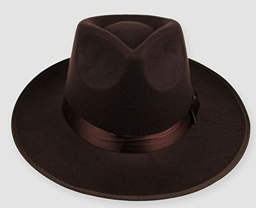 Hippie Unisex Männer Jazz Wool Trilby Bowler Fedora Panama Hut Gangster Kappe, (Kostüm Coffee John)