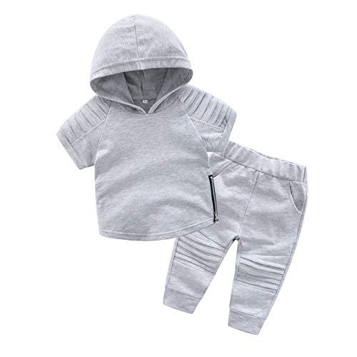 Baby Boy Trainingsanzug Hoodie Kurzarm Sweatshirt und Hose Solide 2 Stück Sport Anzug für Alter 0-5 Jahre Alt