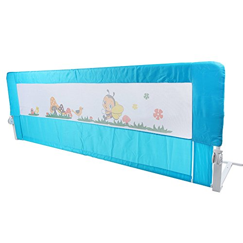 150cm/180cm Barandilla de La Cama Guardia de Seguridad para Niños, Barandilla Plegable de La Cama Infantil (180cm, Azul)