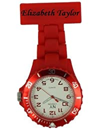 PERSONALIZED PRINCE NY LONDON WHITE SILICONE RUBBER PLASTIC NURSE FOB WATCH NURSE BROOCH IN RED COLOUR