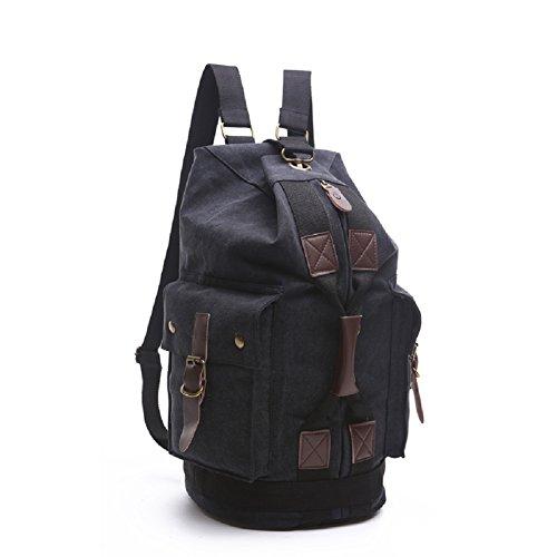 LF&F Backpack 32-40L Kapazität Freizeit im Freien Schulterbeutel Bergsteigen Tasche Camping Rucksack Reisetasche Schulranzen Multifunktionsaufbewahrungstasche Retro Black