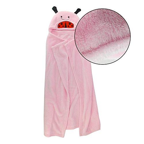 Harson&Jane Super Soft-Flanell mit Kapuze Baby-Bademantel-Tierform -Wrap Blanket 0-6 Jahre alt (75×100cm ,30×40 inch, Pink)