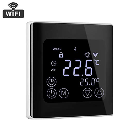 Thermostat Heizung wifi Raumthermostat Smart Digital Wandthermostat Programmierbar Thermostatheizkörper für Elektrische Fußbodenheizung mit LCD-Touchscreen Fernbedienung durch Smartphone App 230V