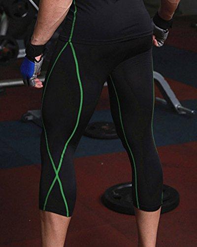 Pantaloni Sportivi Da Uomo Ginnastica Athletic Palestra In Corsa Di Allenamento Pallacanestro Fitness Leggings Nero Verde