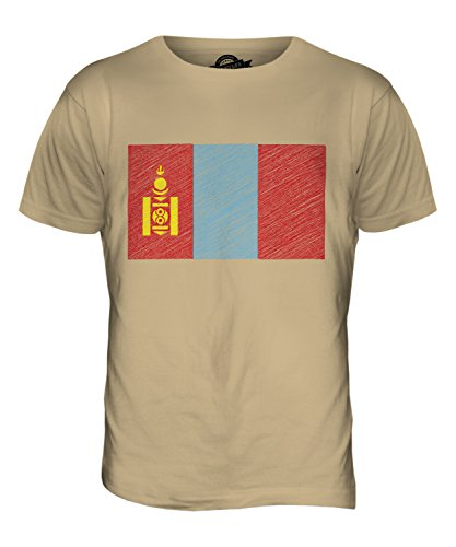 CandyMix Mongolia Bandiera Scarabocchio T-Shirt da Uomo Maglietta Caramello