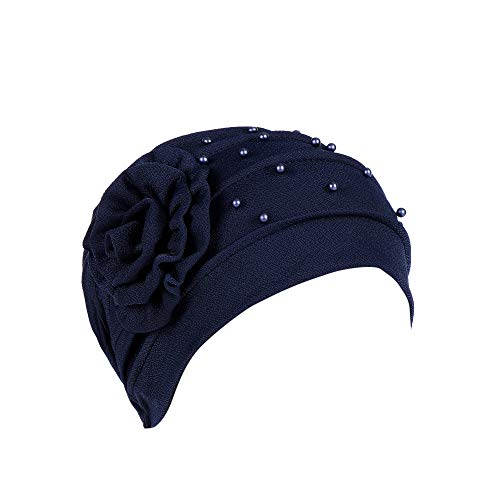BESSKY Women Beading India Hat Muslima Ruffle Cancer Chemo Beanie Floral Turban  Wrap Cap Solid Color 9388298576b