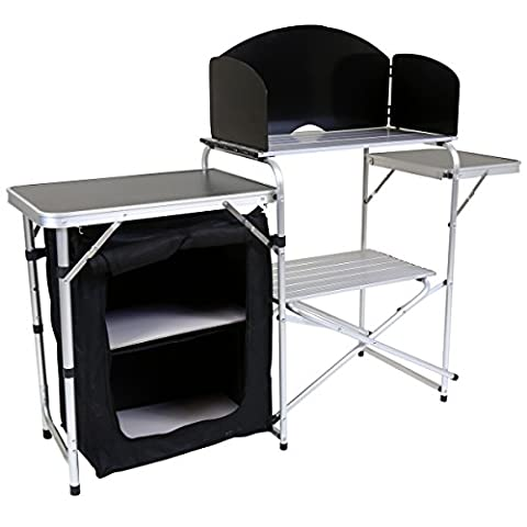 Charles Bentley Aluminium Camping Kitchen And Cupboard Storage Unit With Wind Shield 3 Tables Portable Easy Assembly L146 x W46 x H80cm