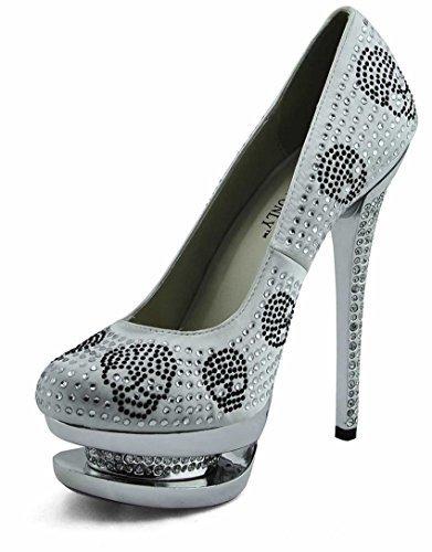 Trend-Stern-Frauen-Absatz-Plattformschuhe verziertes Schädel-Partei-Hochzeits-Diamantgröße 3-8 Style 2 - Ivory