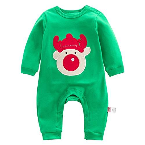 Bebé Navidad Mameluco de Manga larga Pelele Reno Mono Papá Noel Body 3-6 Meses