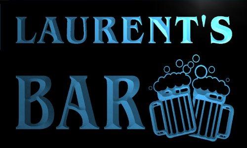 w005671-b LAURENT'S Nom Accueil Bar Pub Beer Mugs Cheers Neon Sign Biere Enseigne Lumineuse
