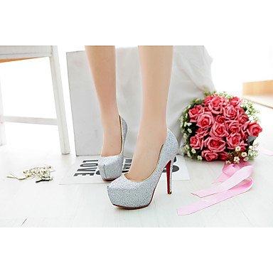 LFNLYX Frauen Fersen Frühling Sommer Herbst Winter Club Schuhe Synthetische Hochzeit Party & Abendkleid Stiletto Ferse Sequin Schwarz Silber Silver