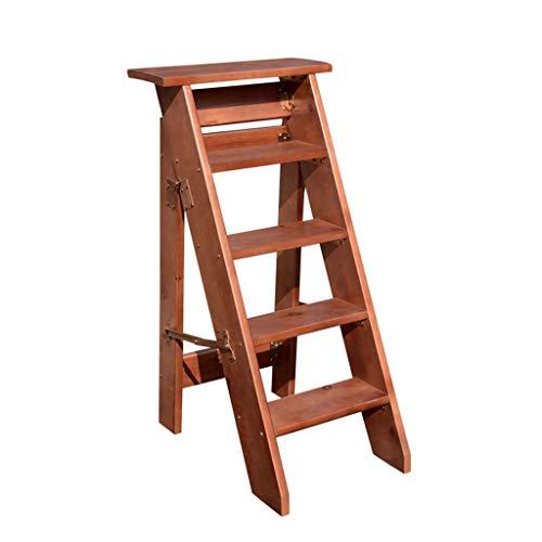 Klappstufen Klapptritt Klappleiter Holz Trittleiter 5 Stufen schmal Tritthocker Leicht Faltbar Vintage Sicherheit und Rutschfest Haushaltsleiter- 300 lb Kapazität (braun)