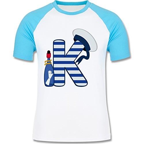 Anfangsbuchstaben - K Schifffahrt - zweifarbiges Baseballshirt für Männer Weiß/Türkis