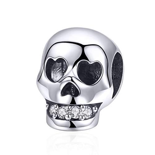 ger aus 100% 925er Sterlingsilber, Weihnachtsgeschenk, Totenkopf-Perlen, passend für Charm-Armband, Halloween-Schmuck ()