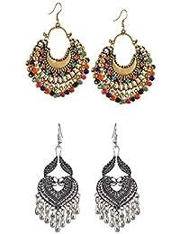58073dc8a Tiaraz Fashion German Silver Beaded Chandbali Hook Earrings Jewellery for  Women