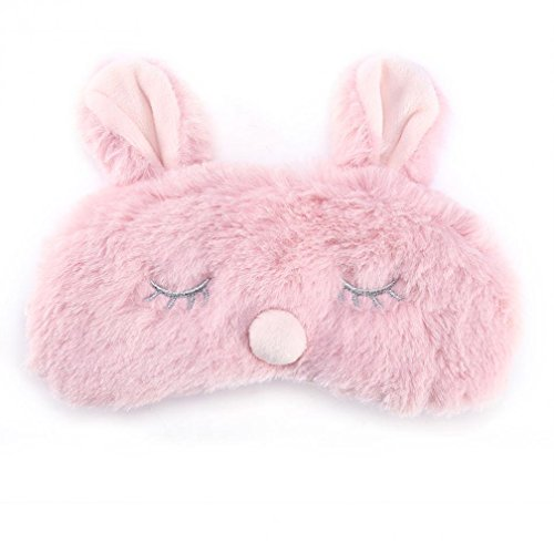 Cute Animal Fluffy Neuheit Schlaf, Augenmaske, Augenbinde mit Ohren 3D, Kaninchen, Koala oder Pinguin Gesicht Licht Schlaf Reise Maske Augenbinde (Rosa Hase)