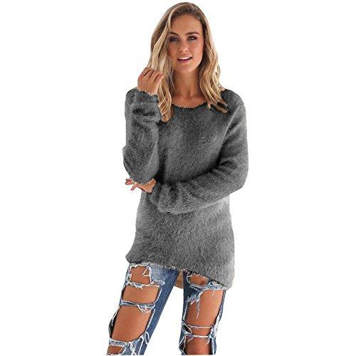 Strickpullover Lässige Einfarbige Langarm Pullover Bluse für Damen Pelzigen Beiläufigen Pullover Crop Tops Strickpulli Oberteile Solid Color Elegante Sweater -
