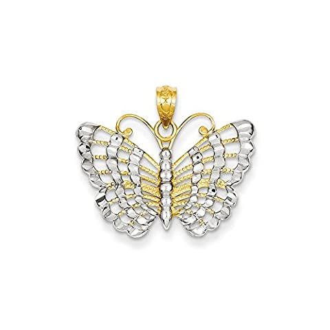 rhodium-plated-gold-and-silver 14k and Rhodium D/C Butterfly Pendant