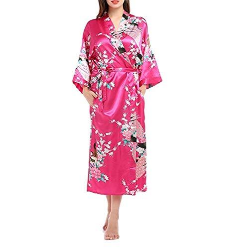 Mujer Vestido Kimono Corto Pijama Bata Satén Seda de Hielo Bata...