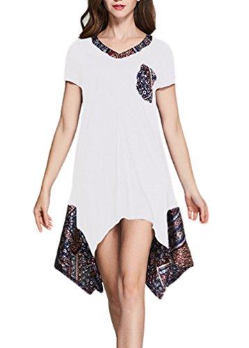 Frauen Kleid Freizeitkleid Druckkleider Sommerkleider V-Ausschnitt Zum Schnüren Kurzarm Irregular Patchwork Besonders Lightweight Weiß
